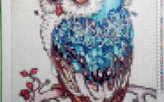 Алмазная мозаика с полным заполнением полотна «синяя сова»