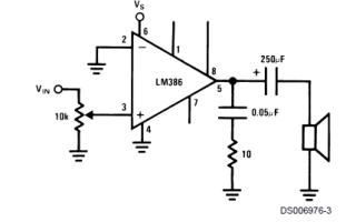 Усилитель LM386. Описание, datasheet, схема включения