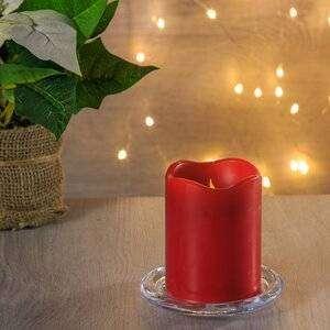 Светильник свеча восковая с мерцающим пламенем 9*7 см красная на батарейках, таймер