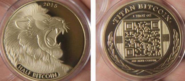 Монета Биткоин Лев