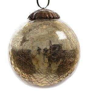 Винтажный шар 7.5 см золотой состаренный, стекло