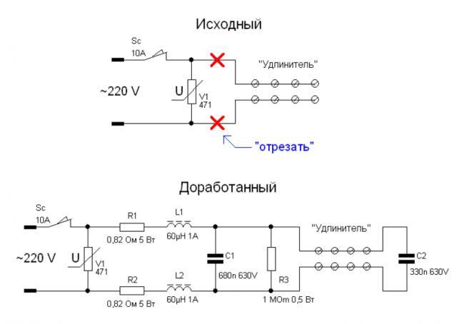 Схема электрическая принципиальная сетевого фильтра на 220 вольт